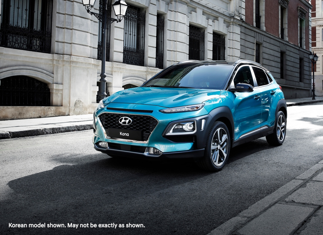 Korean model of the Hyundai KONA in blue