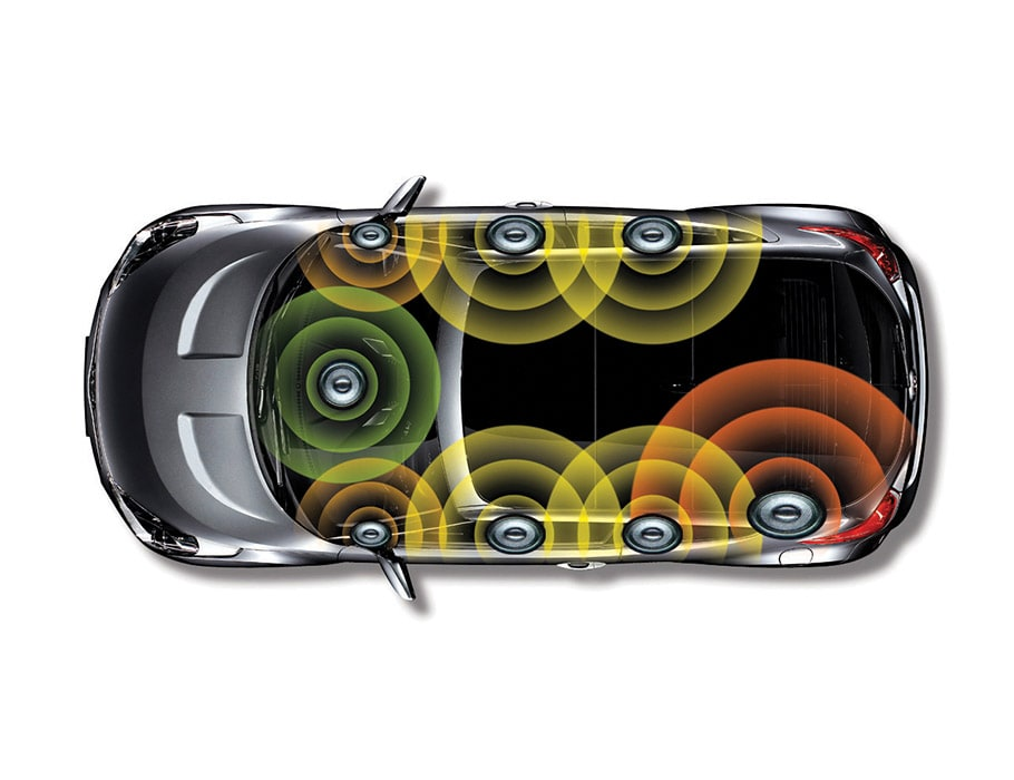 Diagram of Hyundai Veloster Turbo 2016 Infinity premium auto system including 8 speaker locations