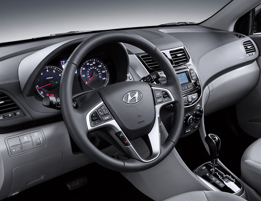 Interior Photo Of Hyundai Accent Compact Hatchback 2017 Steering Wheel Mounted Controls To