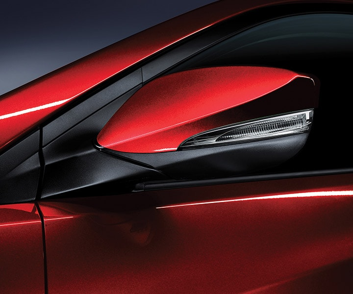 Sleek view of Hyundai Accent hatchback 2017 side view mirror  with LED side repeaters