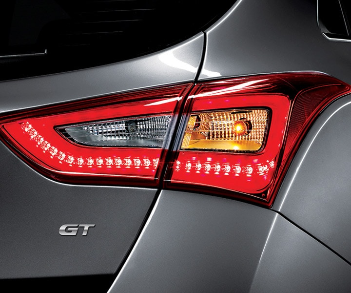 Exterior image of grey Hyundai Elantra GT with sleek LED tail lights