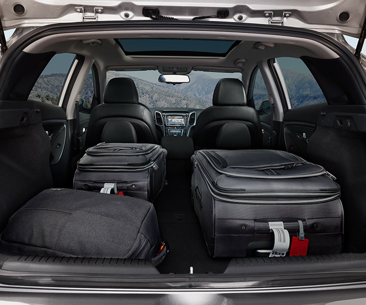 Image of Hyundai Elantra GT 2017 folded rear seats for additional cargo space