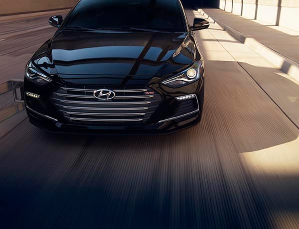 Front view of black Hyundai Elantra Sport 2017 with front grill, silver finish
