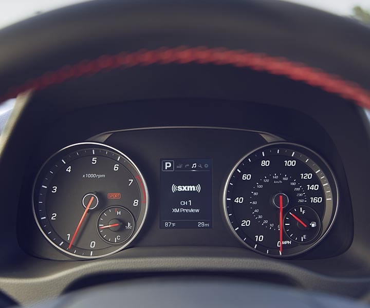 Close up view of Hyundai Elantra Sport 2017 speedometer