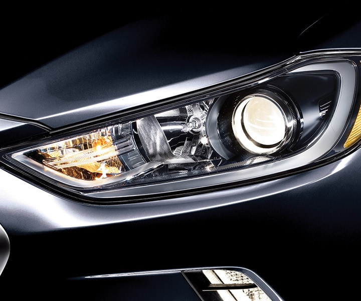 Front view of black Hyundai Elantra V3 2017 LED daytime running lights for crisp illumination