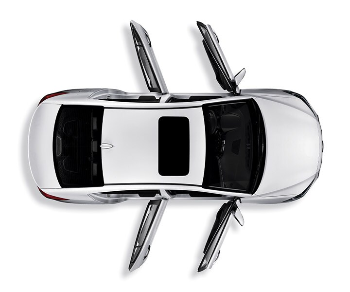 Birds eye view of silver Hyundai Elantra V3 2017 with all doors open