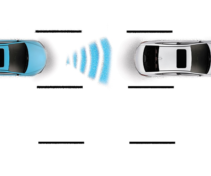 Diagram of Hyundai Elantra V3 2017 adaptive cruise control, demonstrating feature for pre-determined distance