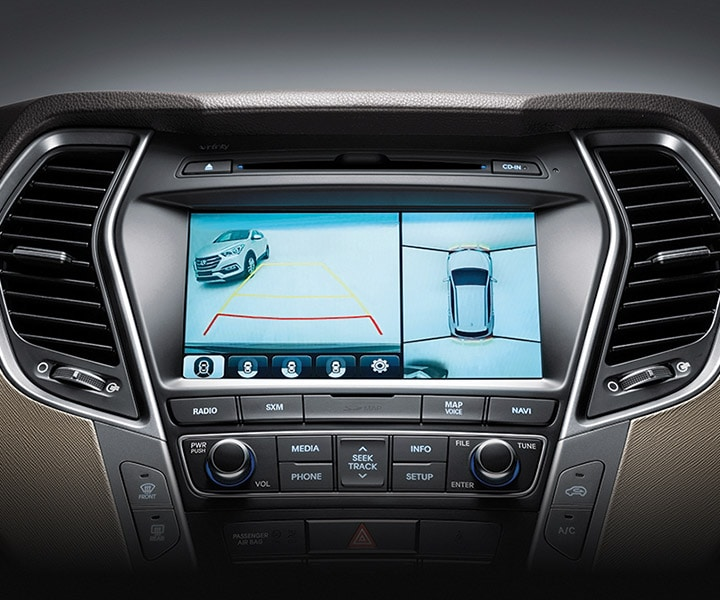 Close Up Of Multi-View Reverse Parking Cameras Which Show You What's Behind Your SUV When Backing Up in the Santa Fe Sport From Hyundai 2017