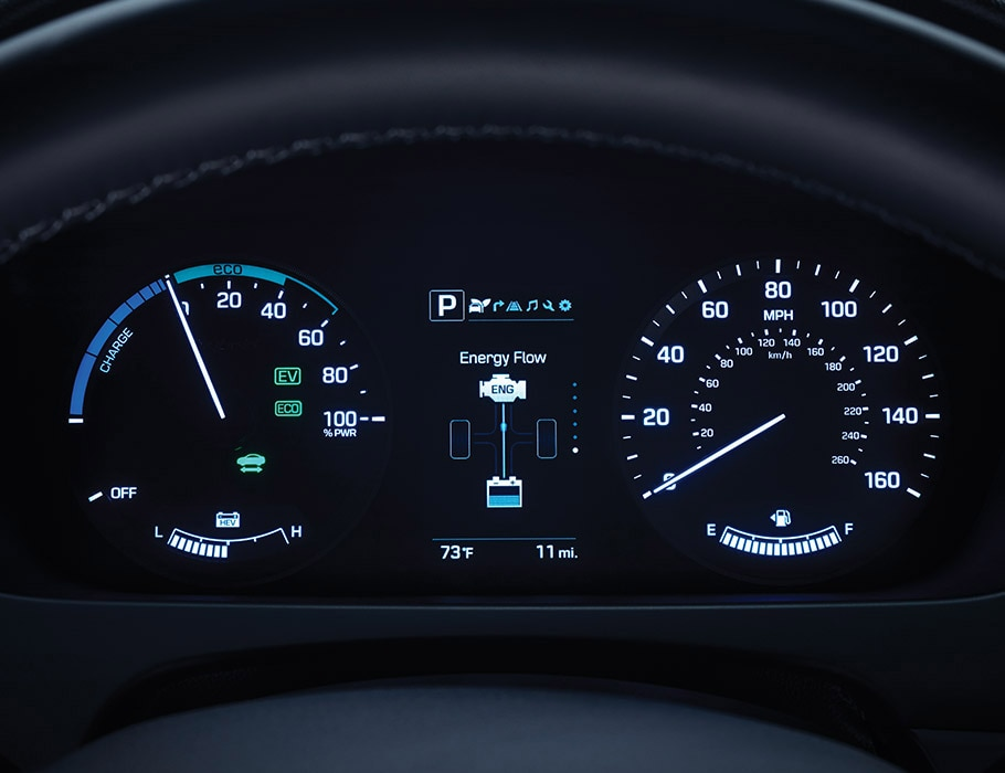Hyundai Sonata Hybrid 2017 dashboard showing battery charge status and estimated electric range