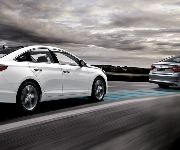 Exterior image of Hyundai Sonata Hybrid 2017 using forward collision warning to leave safe distance ahead