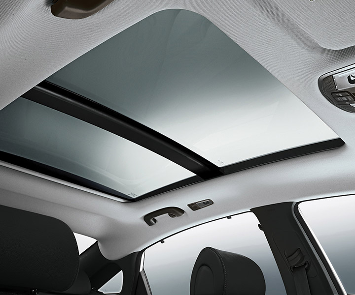 Interior image of Hyundai Sonata 2017 panoramic sunroof over entire roof