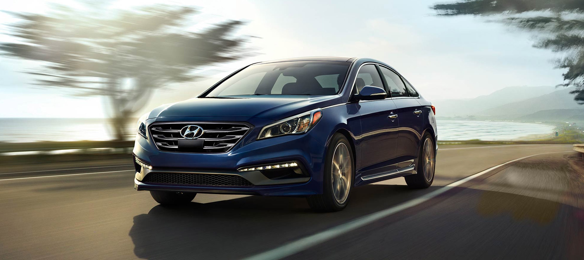 Exterior image of blue Hyundai Sonata 2017 sport model with aggressive design elements