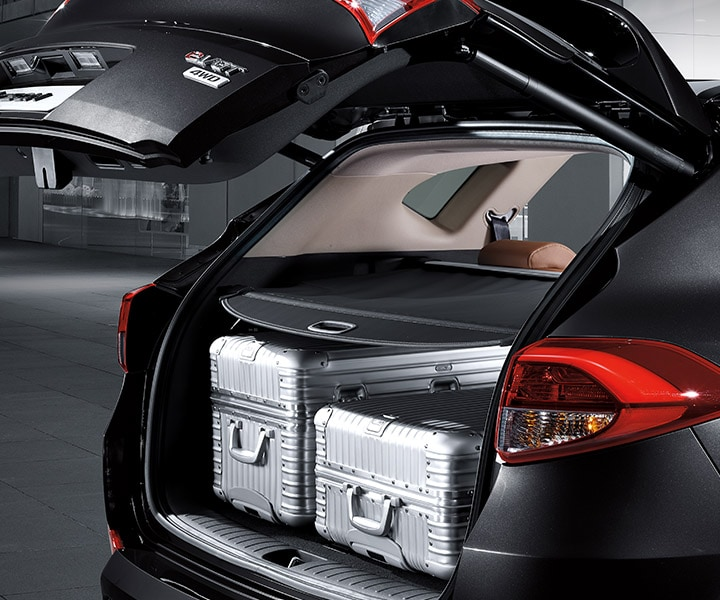Exterior image of black Hyundai Tucson 2017 CUV open rear door, due to smart power liftgate