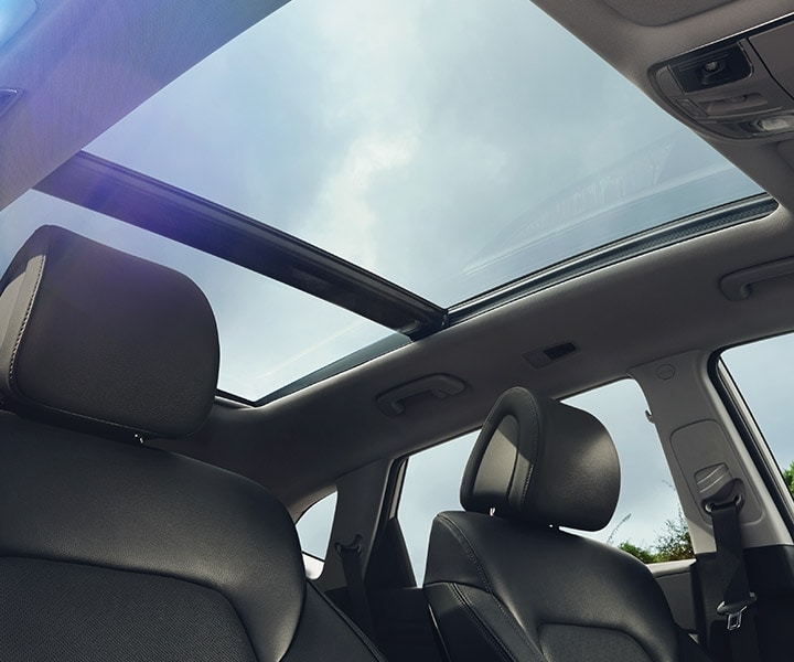 Interior image of Hyundai Tucson 2017 CUV panoramic sunroof over entire roof