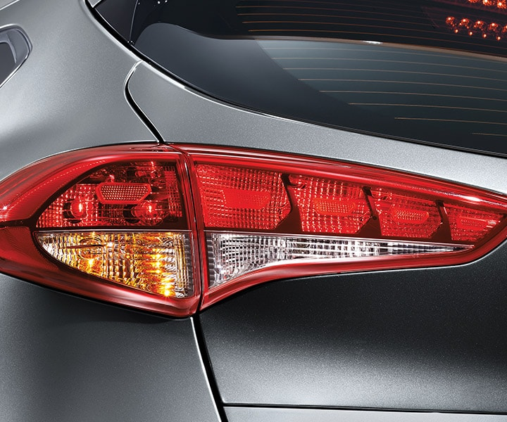 Exterior image of silver Hyundai Tucson 2017 CUV LED tail lights
