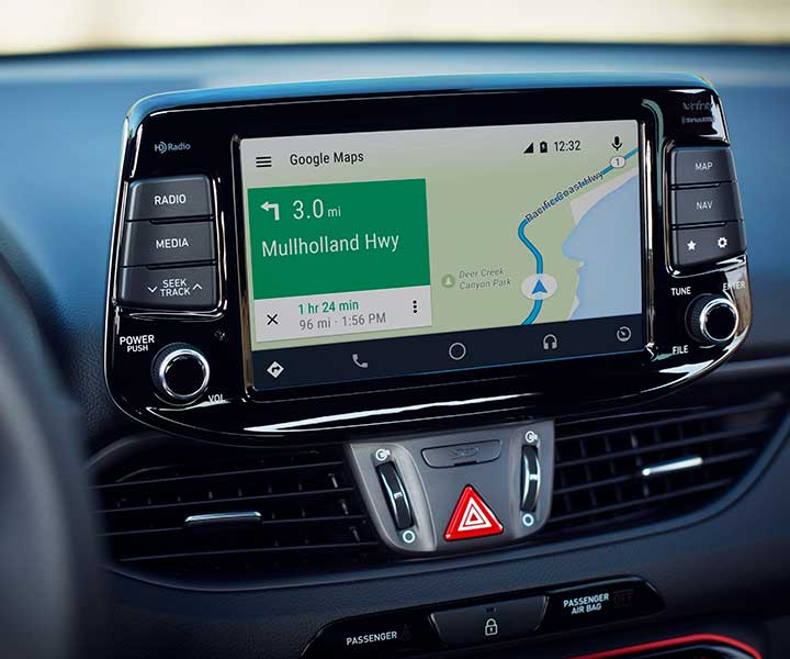 Photo of the Hyundai 2018 Elantra GT's Android Auto feature displaying Google Maps