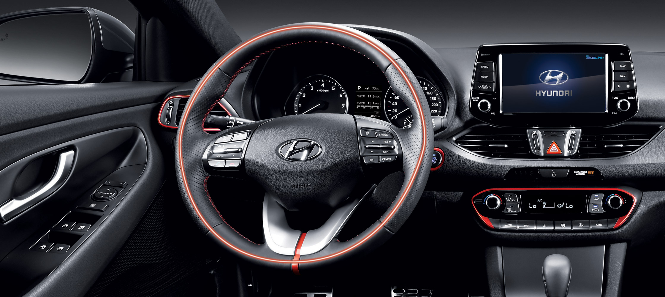 Interior of the Hyundia 2018 Elantra GT's steering wheel with standard heated front seats and steering wheel