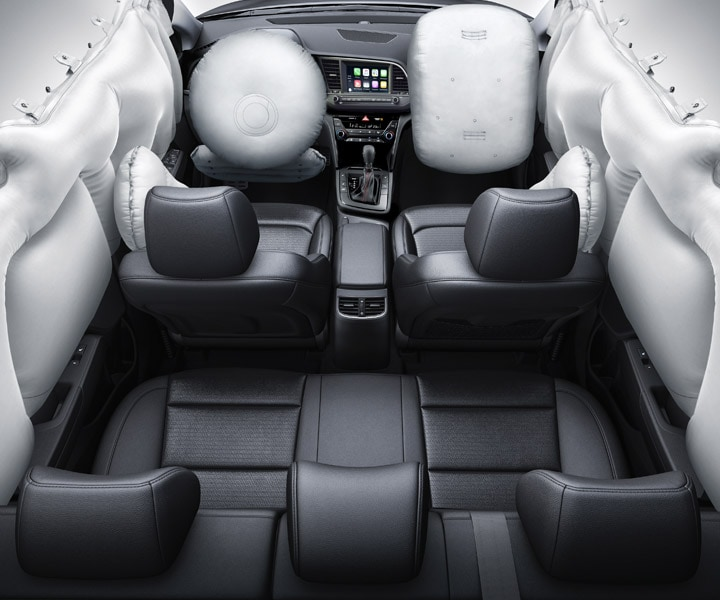 View of the Hyundai 2018 Elantra Sport 7 airbags for extra safety deployed