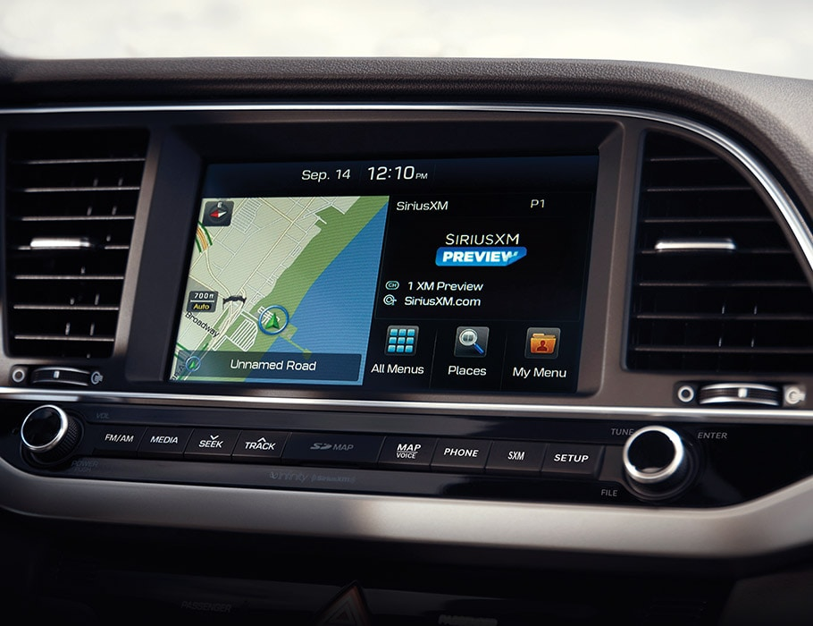 Interior photo of Hyundai Elantra V3 2017 high-tech dashboard with Bluetooth and google map settings