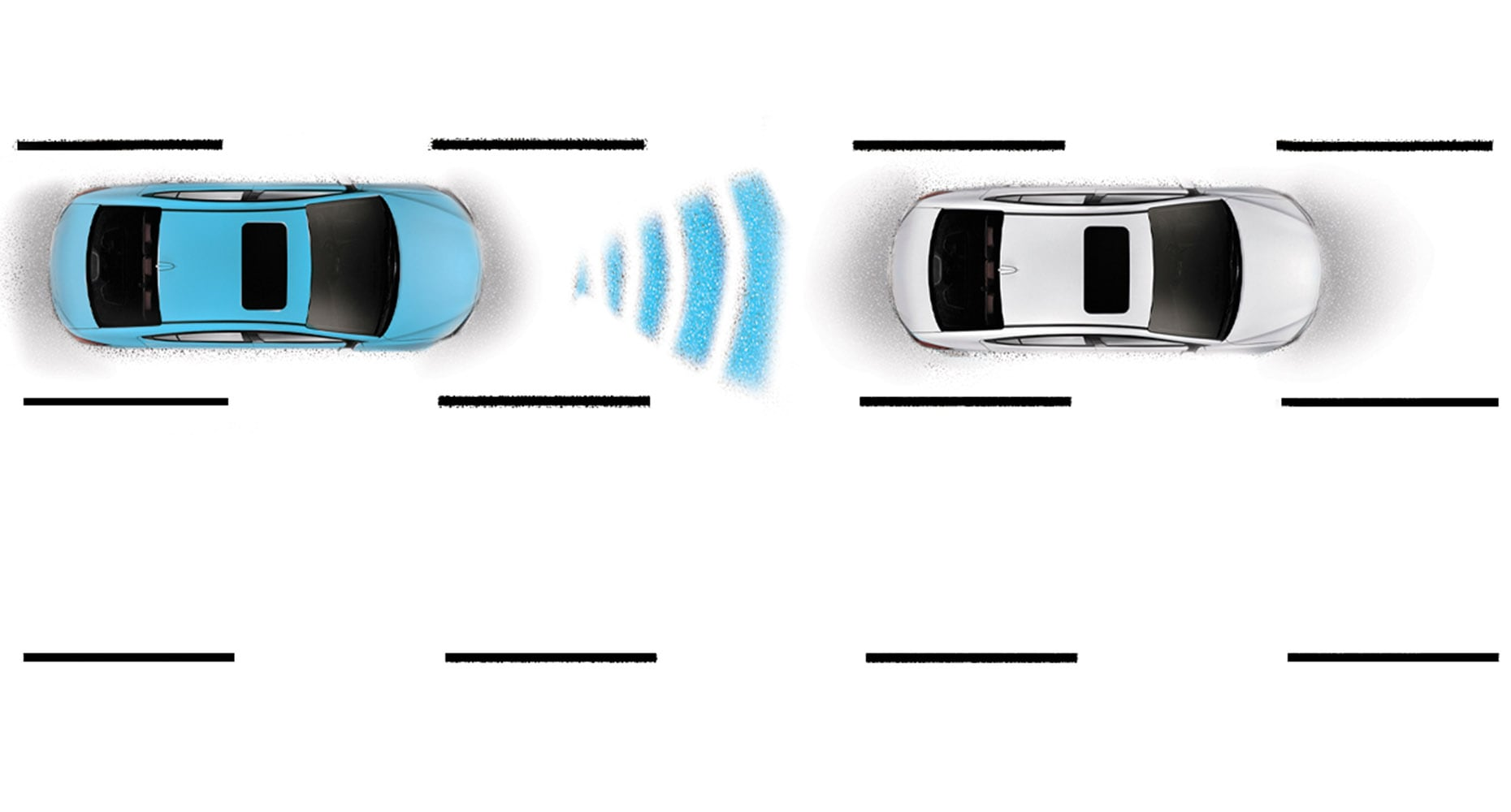 Diagram of Hyundai Elantra V3 2018 adaptive cruise control, demonstrating feature for pre-determined distance