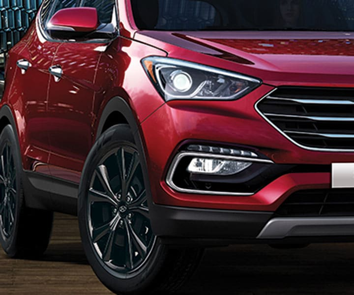 Close up of the 2018 Santa Fe Sport in Serrano Red