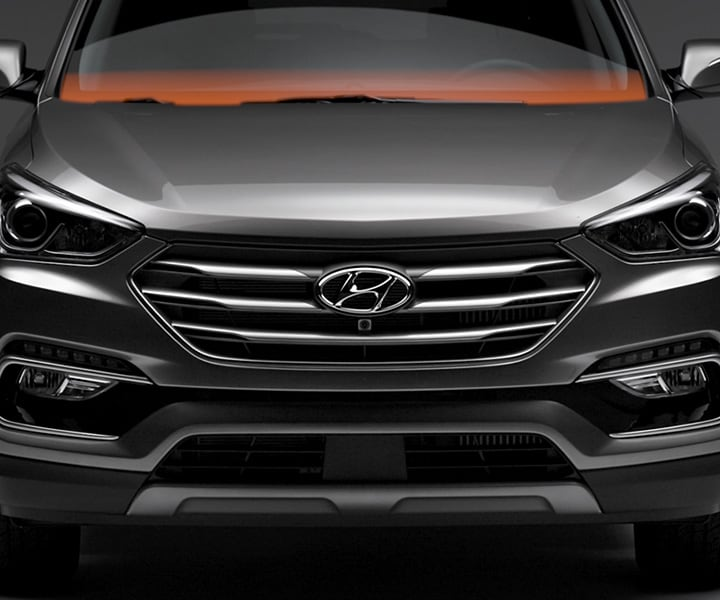 The grille of the 2018 Santa Fe Sport in Black