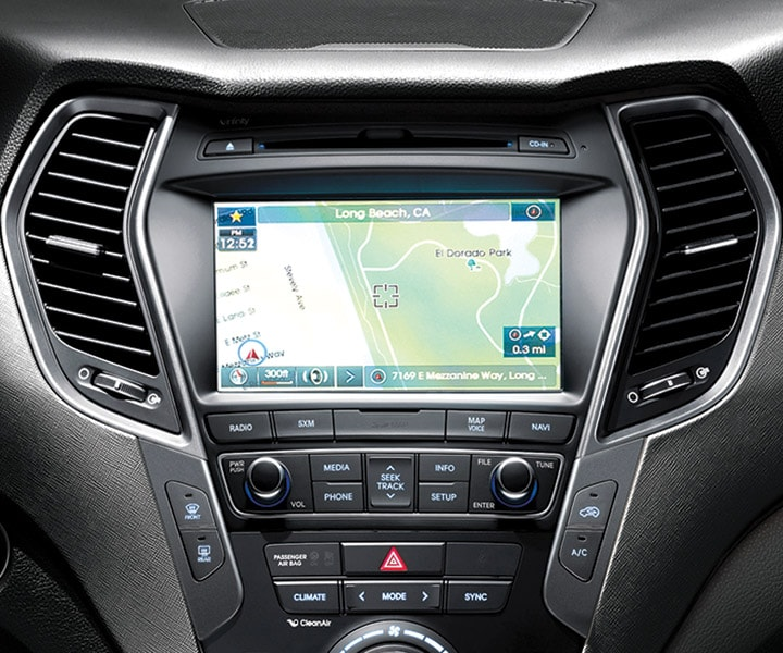 Photo of the touchscreen navigation system included in the 2018 Santa Fe Sport by Hyundai