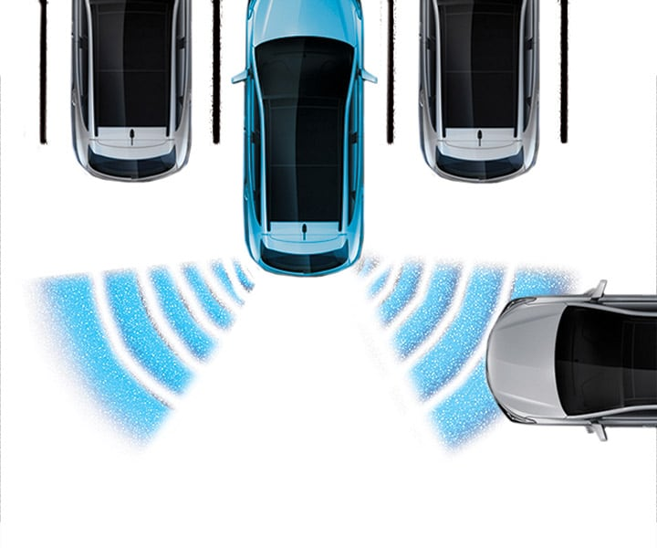 Diagram of the 2018 Santa Fe rear-cross traffic alert system in action by Hyundai