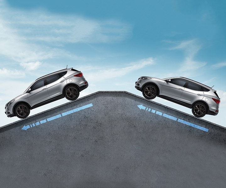 Parking uphill and downhill features on the Hyundai 2018 Santa Fe Sport
