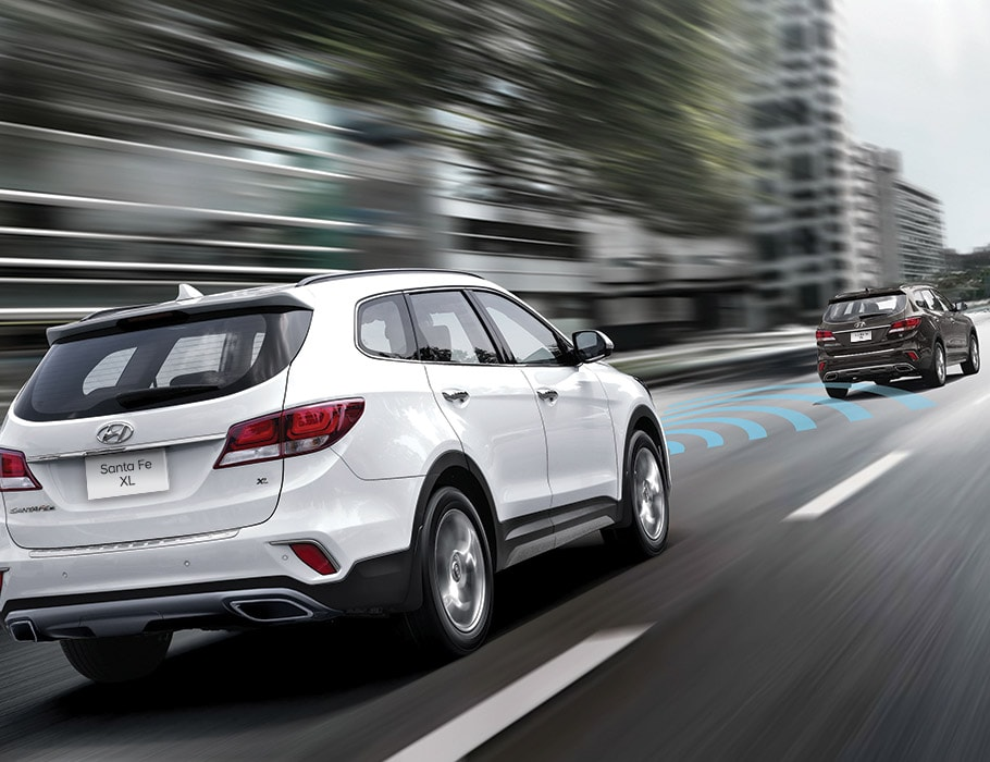 Photo of a white Hyundai 2018 Santa Fe XL on the road driving