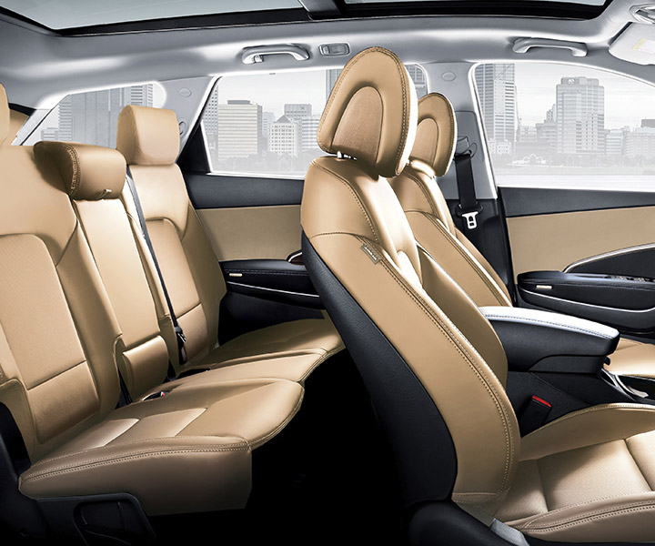 Interior photo of spacious Hyundai Santa Fe XL 2018 SUV seven passenger seating, optional third row