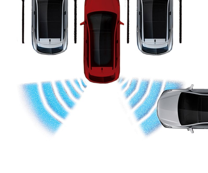 Diagram of the rear cross traffic alert in the Hyundai 2018 Santa Fe XL