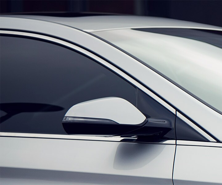 Close up of the 2018 Sonata side view mirrors with blind spot detection and lane assist built in.