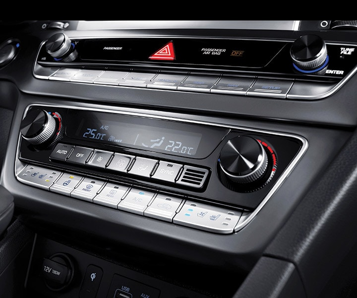 Close up of the 2018 Hyundai Sonata dual-zone climate control dashboard.