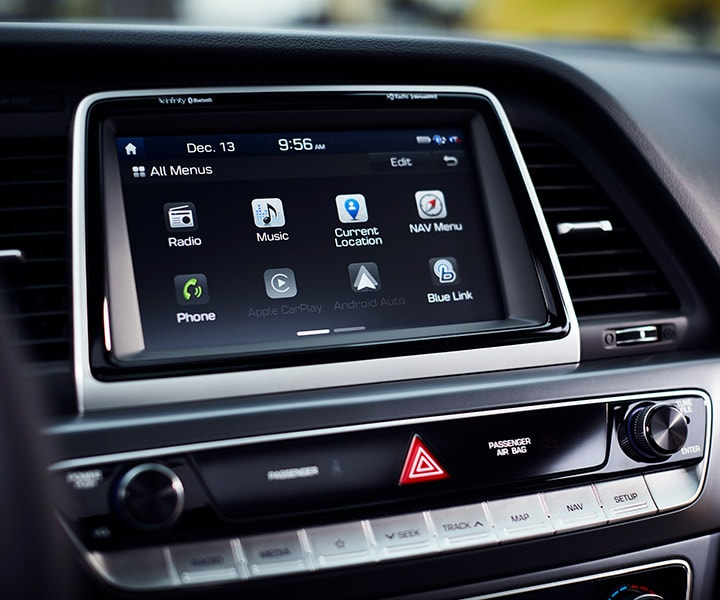 The touch-screen navigation system in the 2018 Hyundai Sonata.
