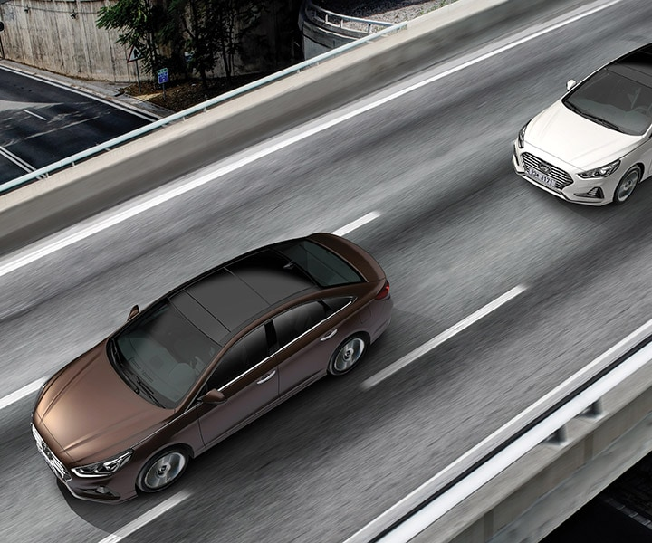 Adaptive cruise control ensuring space between two Hyundai 2018 Sonata drivers.