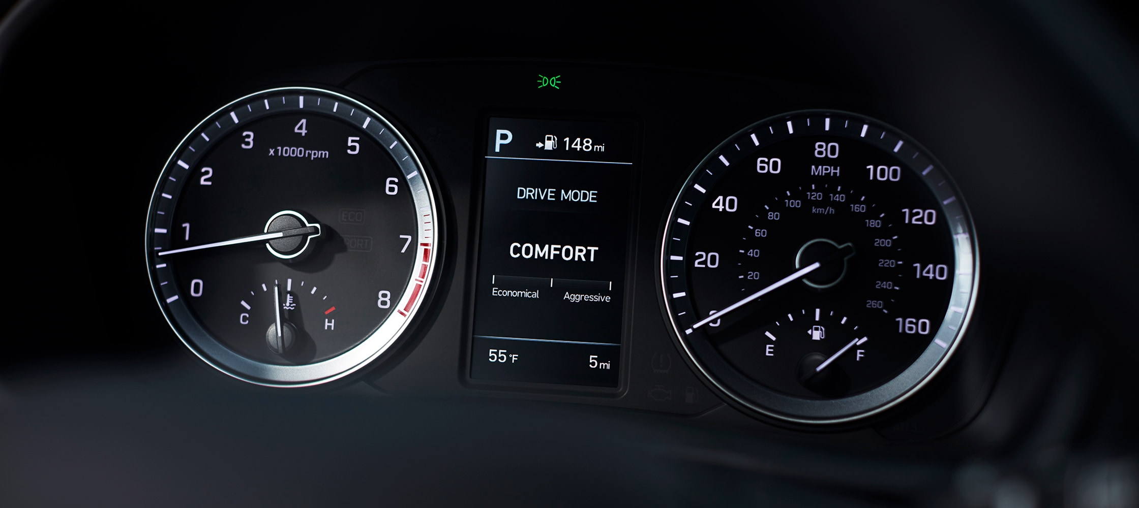 The speedometers in the Hyundai 2018 Sonata.