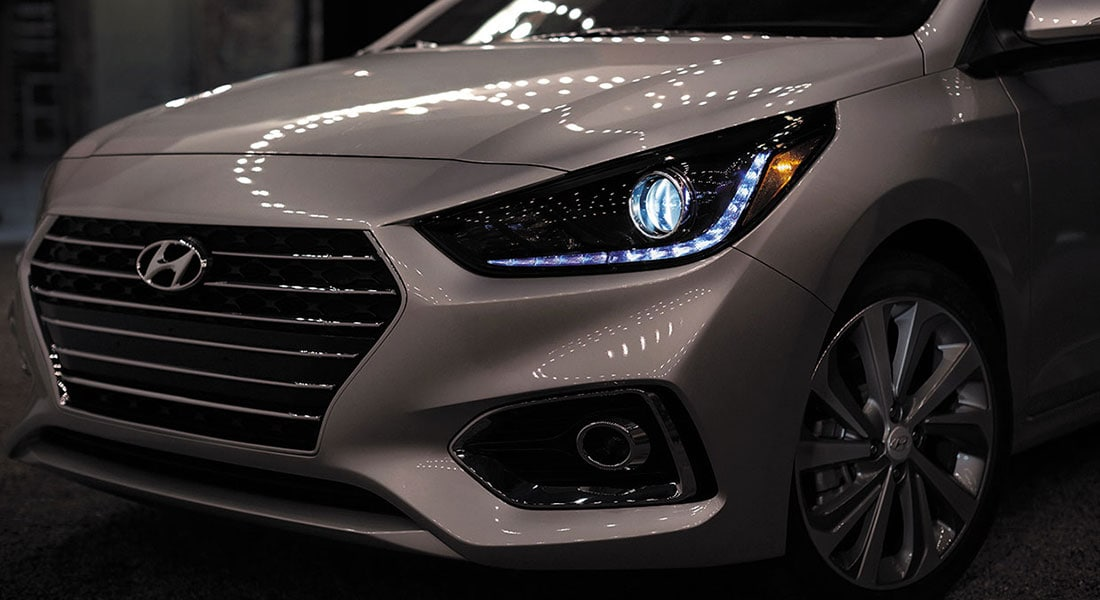 Exterior front headlights on the 2020 Accent