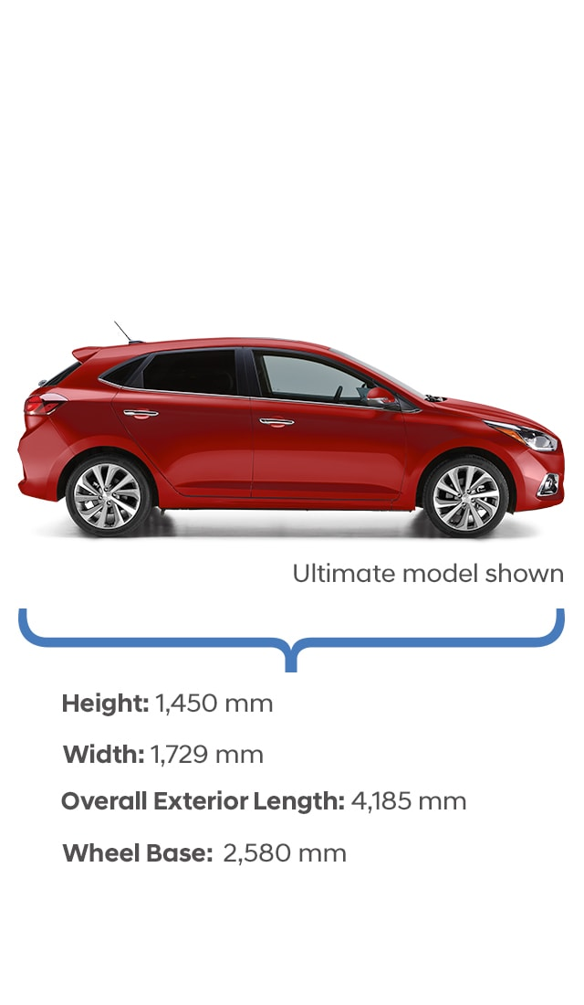 Height and width specifications of the 2020 Accent