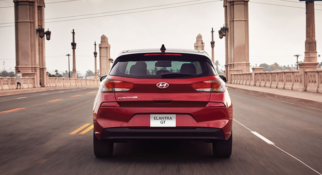 Rear view of the red 2020 Elantra GT