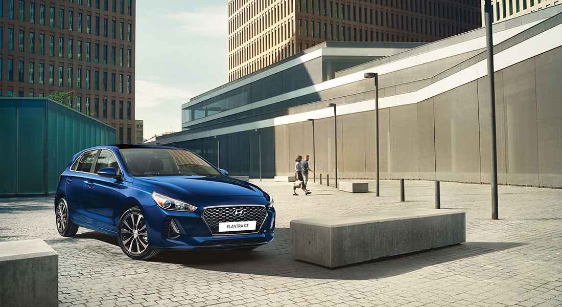 Image of a parked blue 2020 Elantra GT
