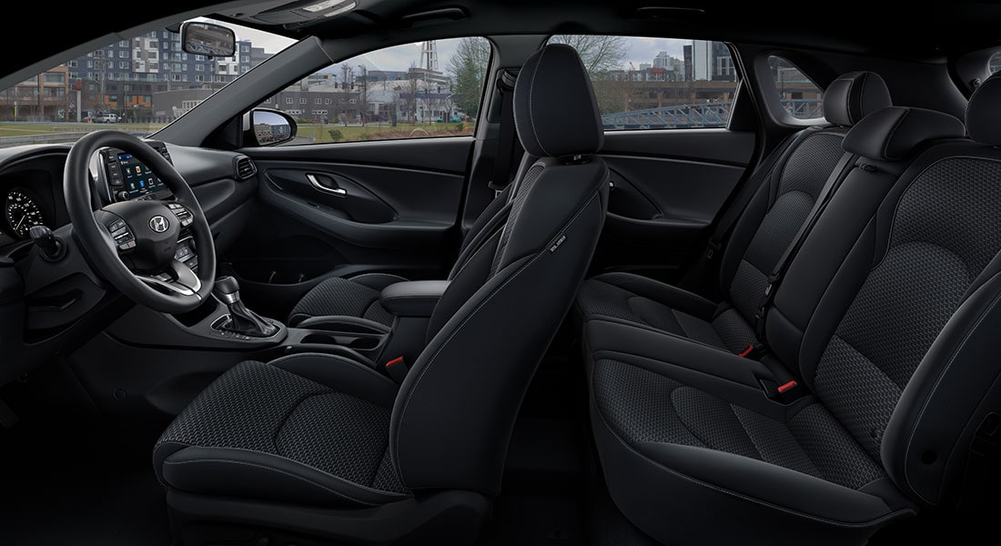 Interior view of the 2020 Elantra GT in black cloth seating