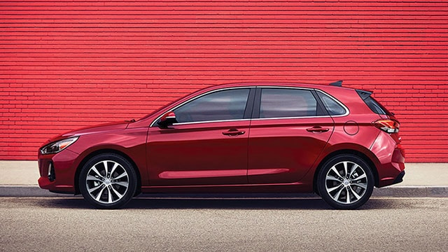 Side view of a red 2020 Elantra GT
