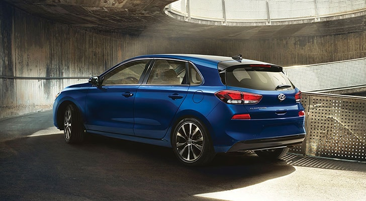 Rear view of the blue 2020 Elantra GT