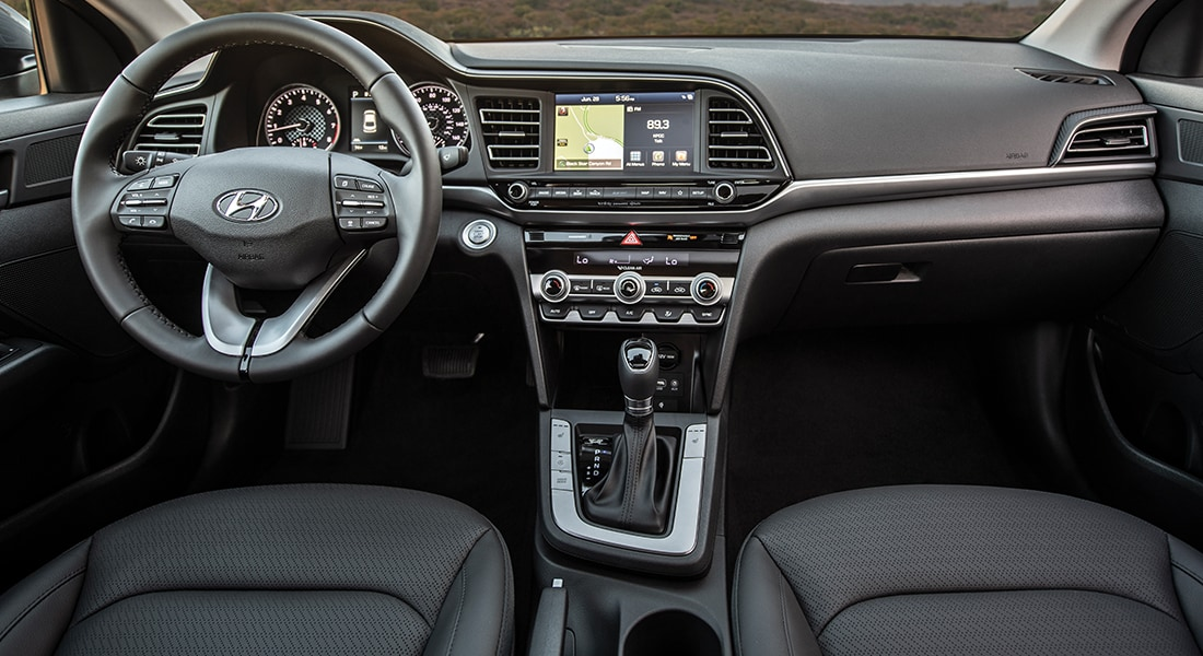 Interior view of the 2020 Elantra in black leather