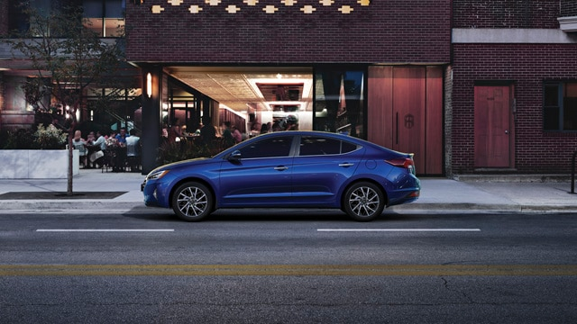 Image of a blue 2020 Elantra parked on the street