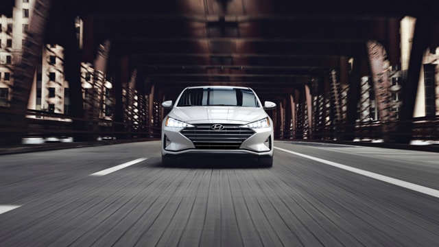 Exterior front view of the 2020 Elantra in white