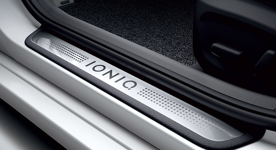 2020 IONIQ Electric logo on foot step
