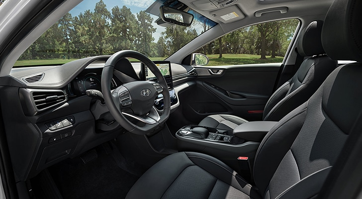 Interior image of the 2020 IONIQ Electric in black leather