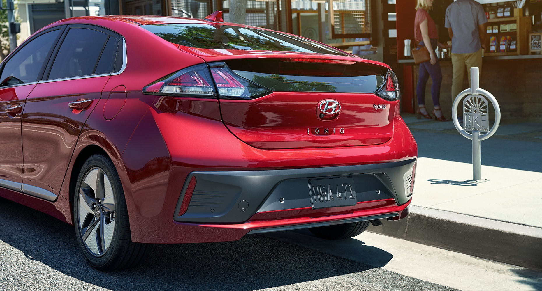 Rear view of the 2020 IONIQ Hybrid in red